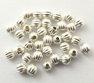 625 PCS 3MM CORRUGATED ROUND BEAD STERLING SILVER PLATED 540