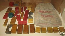 Vintage Holgate Toy Vintage Holgate Wood Blocks & Bag