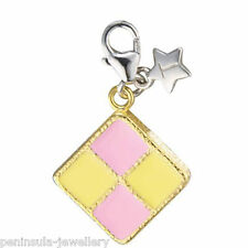 Tingle Battenburg Cake clip on Sterling Silver Charm with Gift box and Bag