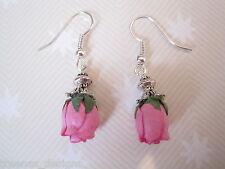 HOT PINK ROSEBUD Drop Earrings Vintage Style CUTE GIFT NEW Rose bud Tibetan