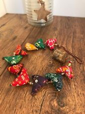 Indian Fabric Bird String Bunting Mobile Beads and Bells Hanging Birds