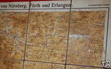 Alte Ausflugskarte Wanderkarte Leinen Nürnberg Fürth Erlangen Forchheim # 602