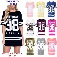 New Womens Oversized Baggy T shirt Dress Ladies New York 98 Baseball Varsity Top