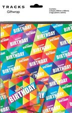 Gift Wrap Happy Birthday Text Triangles Present Wrapping Paper + Matching Tags