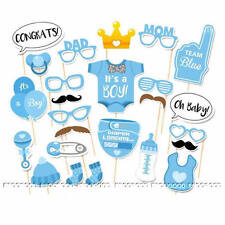 25pcs Baby Boy Mini Mister Shower Photo Booth Props Party Decorations in Blue