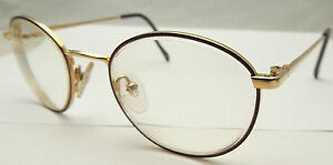 Vintage CHARMANT Reading Glasses 140mm Round Purple Titanium Gold Tone Frames