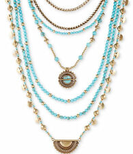 NWT $79 Lucky Brand Gold-Tone and Blue Stone Multi-Layer Statement Necklace