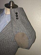 44R Hunting Purple Blue Tooth Check Elbow Patch Wool Tweed Blazer Jacket Coat