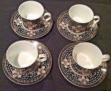 TAPESTRY BY GEORGES BRIARD HTF 4 FLAT CUP & SAUCER SETS BLACK & GOLD EUC