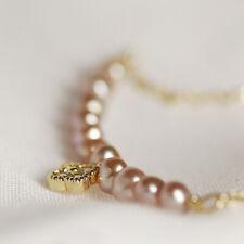 Women Freshwater Pearl Zircon 14K Gold Plated Chain Bracelet Bangle Adjustable