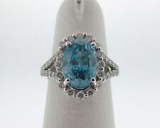 Fine Estate 5.78cts Natural Blue Zircon Diamonds Solid 18k White Gold Halo Ring