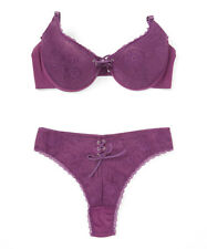 36C Push Up Bra & Thong Large Purple Floral Lace Set BNWT #A-68