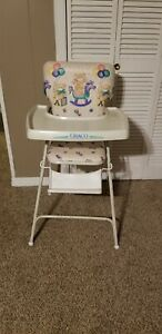 Vintage Graco Highchair Metal And Vinyl Bears balloons ABCs horse, folds down