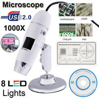 1000X 8 LED 2MP USB 2.0 Digital Microscope Endoscope Zoom Camera Magnifier+Stand