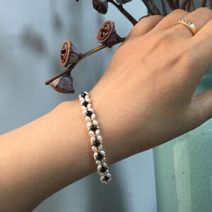 "Hand woven!3-4mm White Pearl&Spinel Bracelet 14K Yellow Gold Filled Handmade 8"""