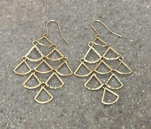 Vintage 14K Yellow Gold Triangle Chandelier Dangle Earrings