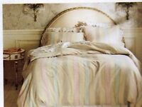NEW SIMPLY SHABBY CHIC LINEN DUVET STRIPE  COVER RUFFLE SHAMS SET TWIN