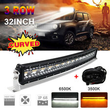 "32"" Curved Amber White Strobe 1900W LED Light Bar Combo Beam Off Road Truck 30"""