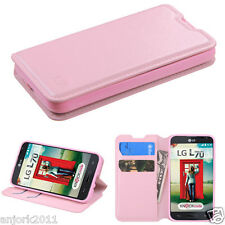 LG OPTIMUS L70 EXCEED 2 REALM WALLET FOLIO CASE W/ CARD SLOT COVER LIGHT PINK