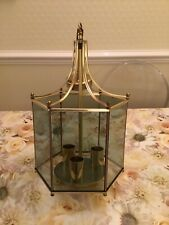 Lantern Style Pendant Lamp Gold Coloured Metal And Glass Three Bulb Holders.