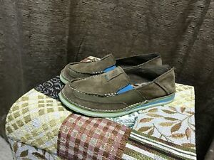 Ariat Womens Cruiser Palm Brown Suede Turquoise Detail Slip On Size 8 B