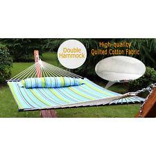 Double Hammock Heavy Duty  Outdoor Sleeping Bed Swing Hang Pillow 2 Person