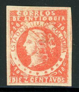 ANTIOQUIA Early MH Selections: Scott #35 10c Scarlet Liberty (1883) CV$4+