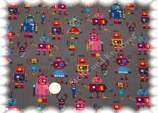 Feincord Robots grau 50 cm Kordstoff Stoff  Cord Kinderstoff