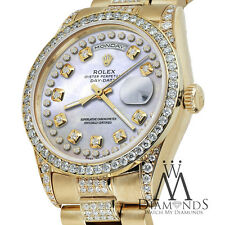Rolex Presidential Day Date Pearl Diamond String w Solid 18K Yellow Gold Watch