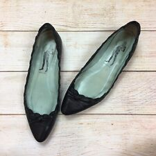 Belle By Sigerson Morrison Black Leather Pointed Toe Flats Scalloped Womens 9 B