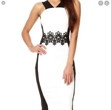 Quiz Cream Black Lace Detail Bodycon Dress 14 BNWT
