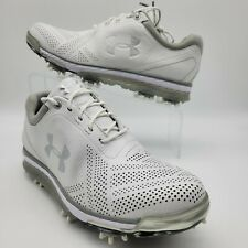 New UNDER ARMOUR UA Tempo Tour Leather Waterproof Golf Shoes Mens WHITE $220
