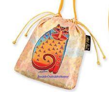 Laurel Burch Drawstring CrossBody Makeup Bag Yellow Cat Gift Jewelry Pouch