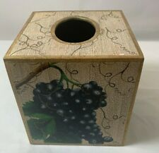 Robin King Designs Decoupage Wood Tissue Box Cover Grape Fruits Home Decor