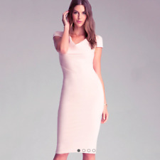 Bebe Pink Rose Smoke Blush Cowl Neck Cap Sleeve Slim Fit Midi Length Dress M