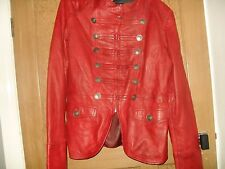 Carrie Hoxton red antique look leather military jacket size 16