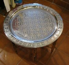 Moroccan tray table-Moroccan silver end table-Moroccan silver tray coffee table