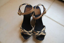Tory Burch Navy and Cream Espadrille Wedges with Tan leather strap. Size 9M.