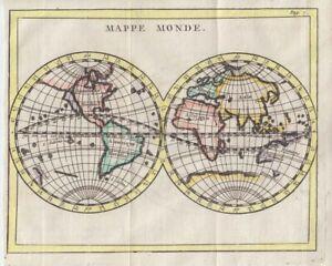 1759  Buffier Double Hemisphere Map of the World - California as an Island