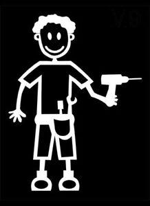 MY STICK FIGURE FAMILY Car Window Vinyl Stickers M9 Male Builder Handyman DIY