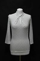 HOBBS Ladies Sleeved Amber Navy Ivory 3/4 Sleeve Knot Neck Polka Dot Top XS NEW