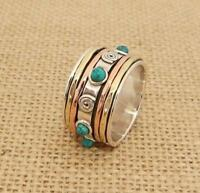 925 Sterling Silver Copper Brass 3 Tone Turquoise Spinning Band Ring Thumb 14mm