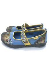 New KEEN Harvest Mary Jane Slip On Floral Plaid Shoes Women 6 Denim Yellow