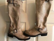Frye Genuine Leather  Veronica Boots Block Heels Stone Beige Size 6B Womens