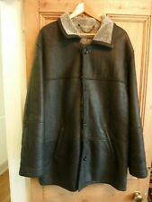 "Mens Dark Grey Sheepskin Jacket 52"" Chest Excellent Condition"