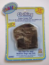 """xbx camo cargo pants WEBKINZ PET CLOTHING 8"""" dog cat monkey horse etc new code"""