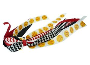 Softball Pony Streamer - Red Black Chevron Ribbons - Glitter Sports - Girls Hair