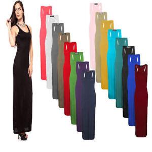 Women's Long Maxi Dress Ladies Stretch Body-con Sleeveless Plain Racer Back Vest
