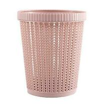 New Pink Home Office Plastic Basket Trash Waste Bin Hollow Garbage Bag Box