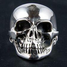 Una Sonrisa Calavera Anillo Plata Esterlina .925 Pulida Biker Heavy Metal Punk Gótico